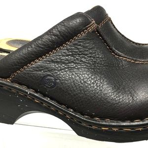 Born Women Shoes Clogs Slip On Size6 Leather Black